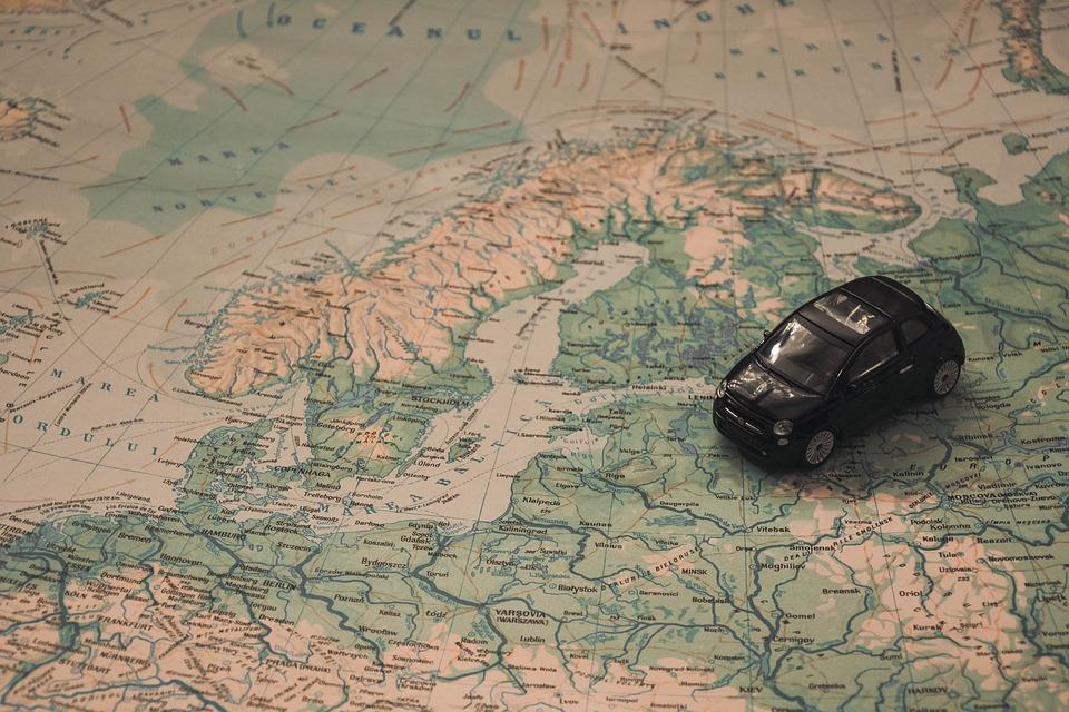 auto na mapě